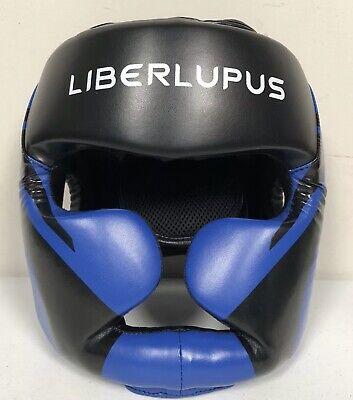 Liberlupus Boxing Headgear, Full Face Helmet, Thick-Padded Head Guard, XL Blue