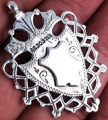 BEAUTIFUL ANTIQUE SOLID SILVER SOLID SILVER ALBERT CHAIN FOB MEDAL 1897