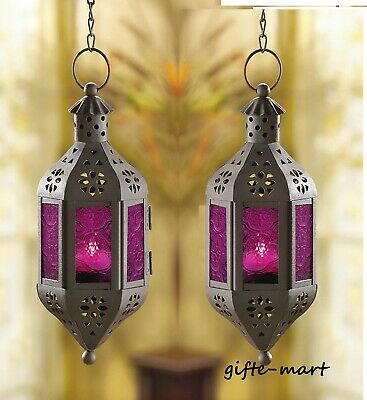 2 PURPLE hanging pierced Moroccan Fairy Lantern Candle holder outdoor terrace Moroccan Hanging Candle Lantern