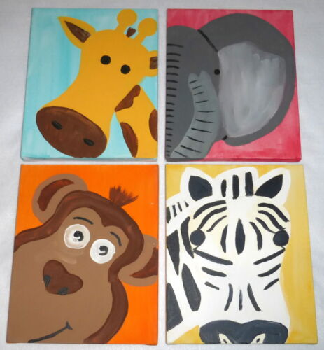 4 Hand Painted Animal Faces Child Nursery Pictures Giraffe Zebra Monkey Elephant