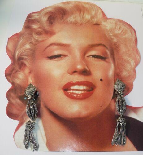 Sterling Silver Large Vintage Marcasite Drop Dangle Clip On Earrings
