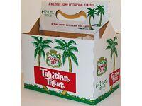 Vintage soda pop bottle carton CANADA DRY TAHITIAN TREAT palm trees unused nrmt