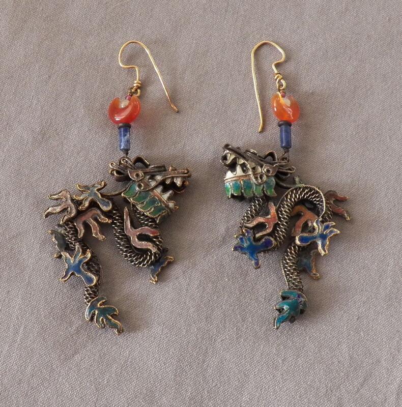 Fabulous Old Vintage Chinese Enamel Silver Drop Dangle Dragon Earrings