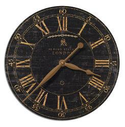 18 London Round Brass Pendulum Wall Clock | Black Crackled Face Old World