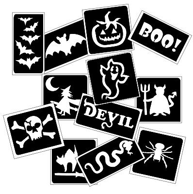 HALLOWEEN themed GLITTER TATTOO STENCIL PACK for Glitter Body Art & Ink Tattoos