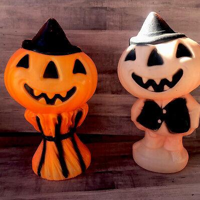 Blowmold Halloween Pumpkin Jack-O-Lantern Set 2 Vintage