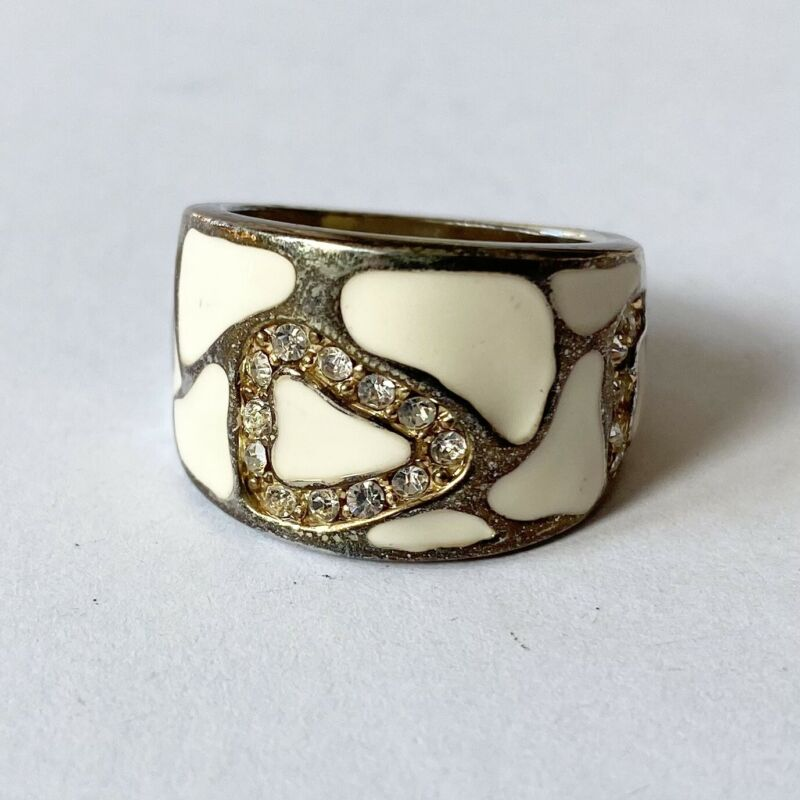 Mosaic Cream White Enamel Rhinestone Statement Wide Band Ring - Size 6.5