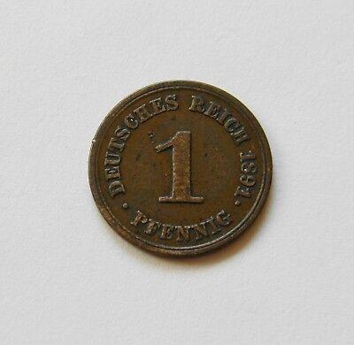 KAISERREICH: 1 Pfennig 1891 E, J. 10, sehr schön, SELTEN !!!   II.