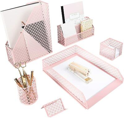 Blu Monaco Pink Metal 6 Piece Desk Organizer Set