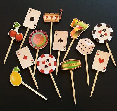 13 Casino Las Vegas Party Cupcake Toppers/Food picks/Theme Party Decorations](Casino Theme Party Decorations)
