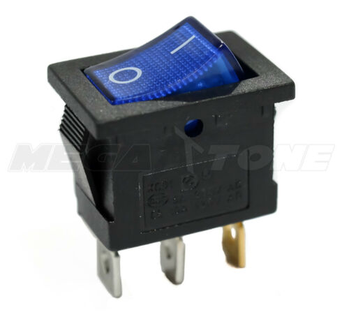 SPST KCD1 Mini Rocker Switch w/Illuminated BLUE Lamp On-Off 6A/250VAC USA SELLER