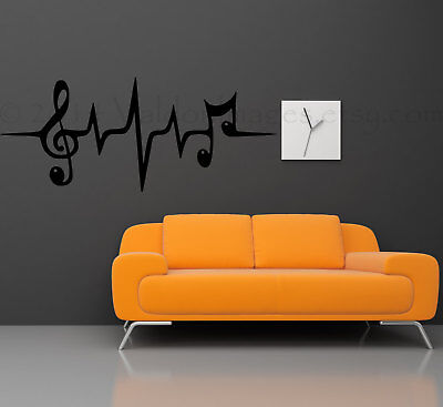 MUSIC NOTE HEARTBEAT Quote Vinyl Wall Decal Words DIY Decor Sticker 36