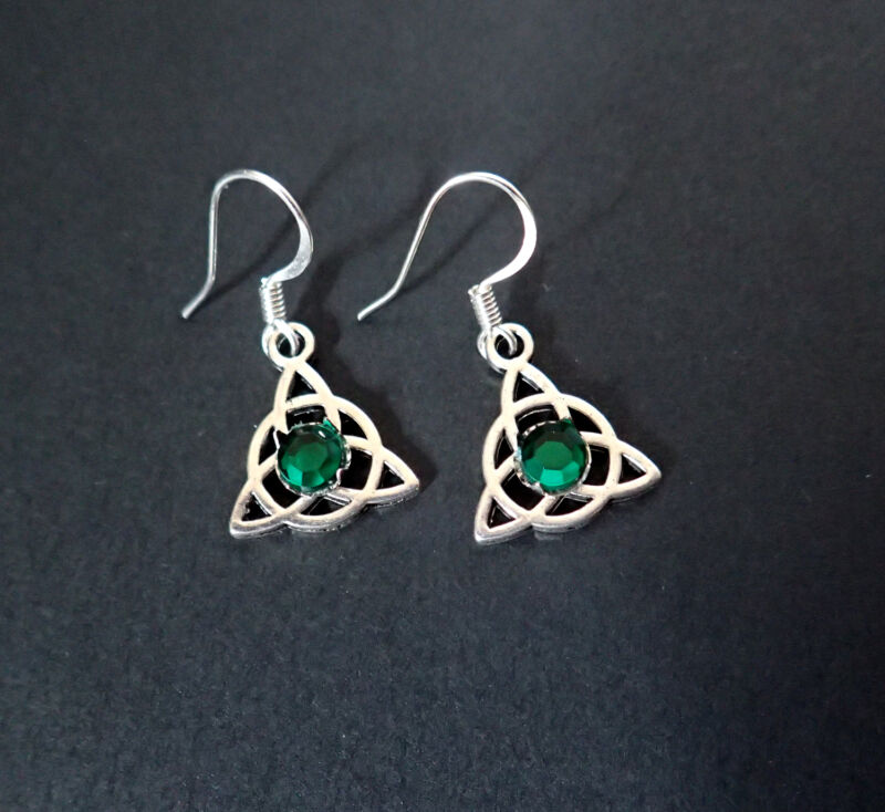 Celtic Earrings Triquetra Trinity Silver Medieval Renaissance Irish Goth Jewelry
