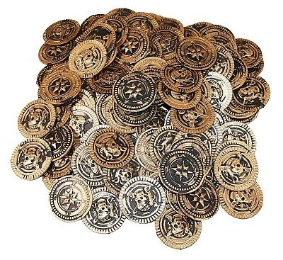 144 PLASTIC RUSTIC VINTAGE BRASS GOLD COINS PIRATE TREASURE CHEST MONEY - Pirate Decorations