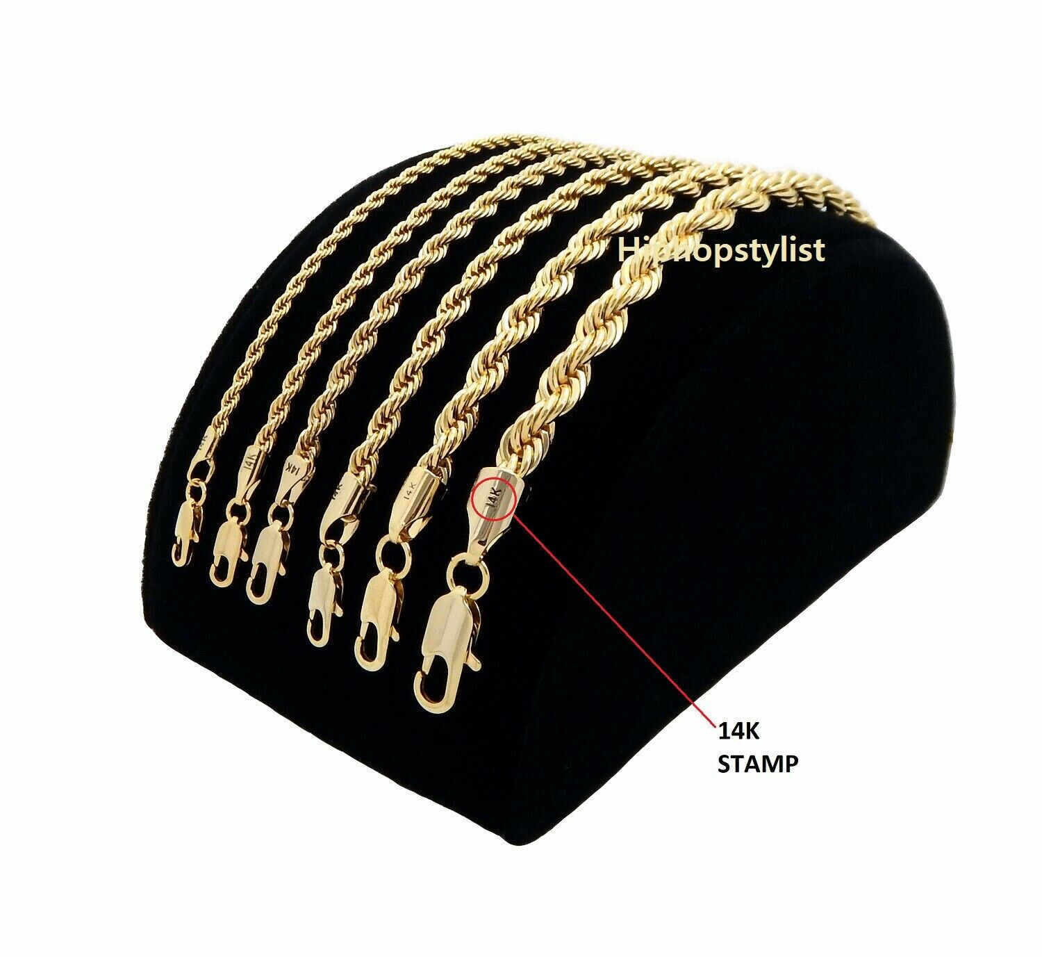 Jewellery - Mens Rope Chain Necklace Bracelet 2mm to 6mm 14k Gold Plated 8, 9, 20, 24, 30""