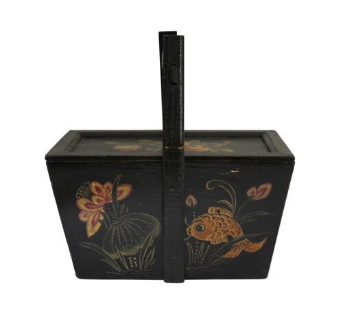 Vintage Asian Fish & Longevity Peach Art Food Bucket , Wedding Basket n126