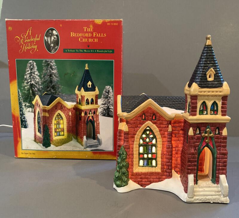 Its A Wonderful Life Holiday Bedford Falls Church illuminated Porcelain Building