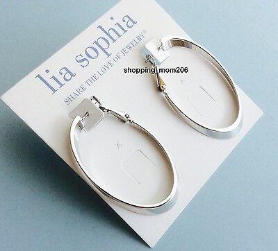 New Lia Sophia  Inside Out Alternate  Silver Tone Symmetical Earrings