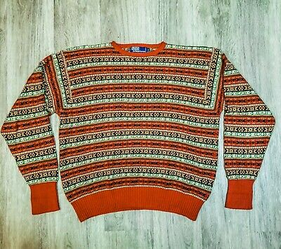 Vintage Ralph Lauren Silk Sweater Aztec Fair Isle Southwest Cotton Aztec XL