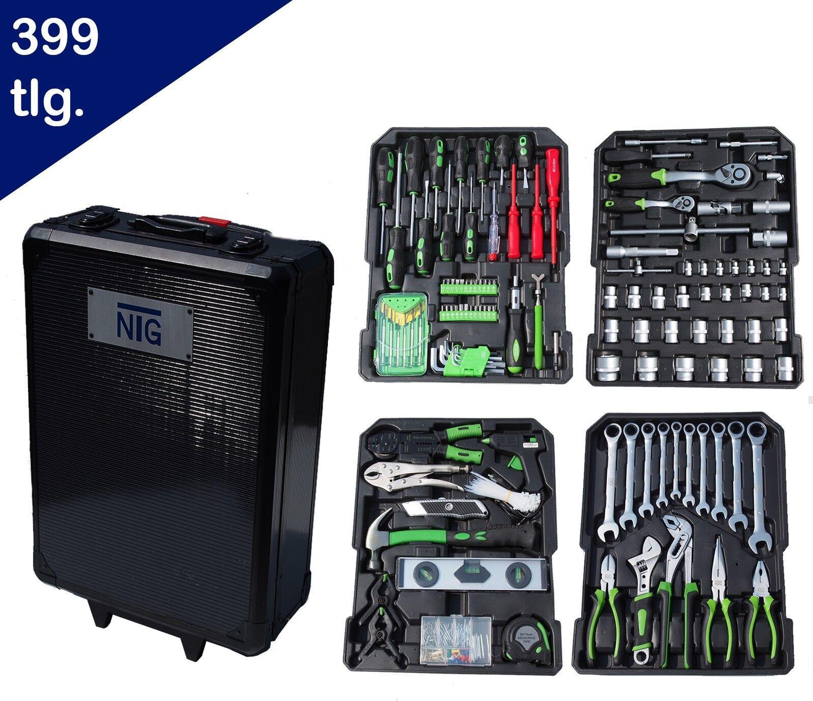NTG 399tlg Alu Werkzeugkoffer mit Werkzeug Werkzeugkasten Werkzeug Trolley