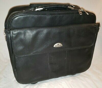 SAMSONITE LEATHER ROLLING LAPTOP BRIEFCASE BAG BLACK W WHEELS