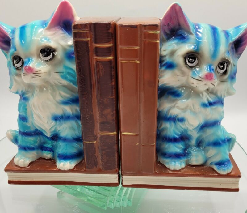 Vintage Kitten Bookends, Teal Cats, Childrens Room/Cat Collection/Kitchy Decor