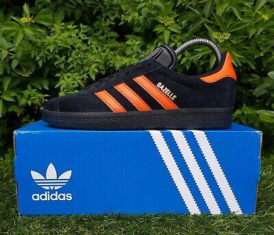 BNWB & Genuine Adidas Originals ® Gazelle Black Orange Suede Trainers UK Size 7