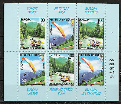 Bosnia-Herzegovina**EUROPA CEPT 2004-SHEET 6vals-RAFTING-PARACHUTE-PARAPENTE-MNH