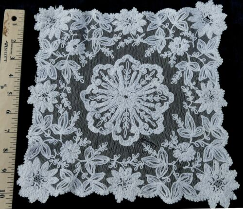 "Antique French Tambour square lace doily 10"" x 10"""