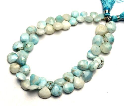 "Natural Gem Larimar 7 to 10MM Size Faceted Heart Shape Briolette Beads 8"" Strand"