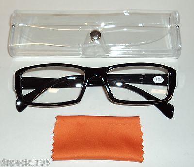 UNISEX Reading Glasses BLACK Frame Clear Case & ORANGE Lens Swipe +3.00