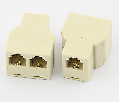 2pcs 1 to 2 Female RJ11 Telephone 4C Phone Jack Line Splitter Adapter Connector