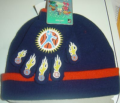 2 PC Set Knit HAT & GLOVES Flames BASKETBALL Beanie CAP WINTER BOY SZ 4 - 7