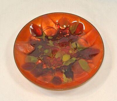 Vintage WIN NG Enamel on Copper Bowl Mid Century Modern Abstract Orange Tones