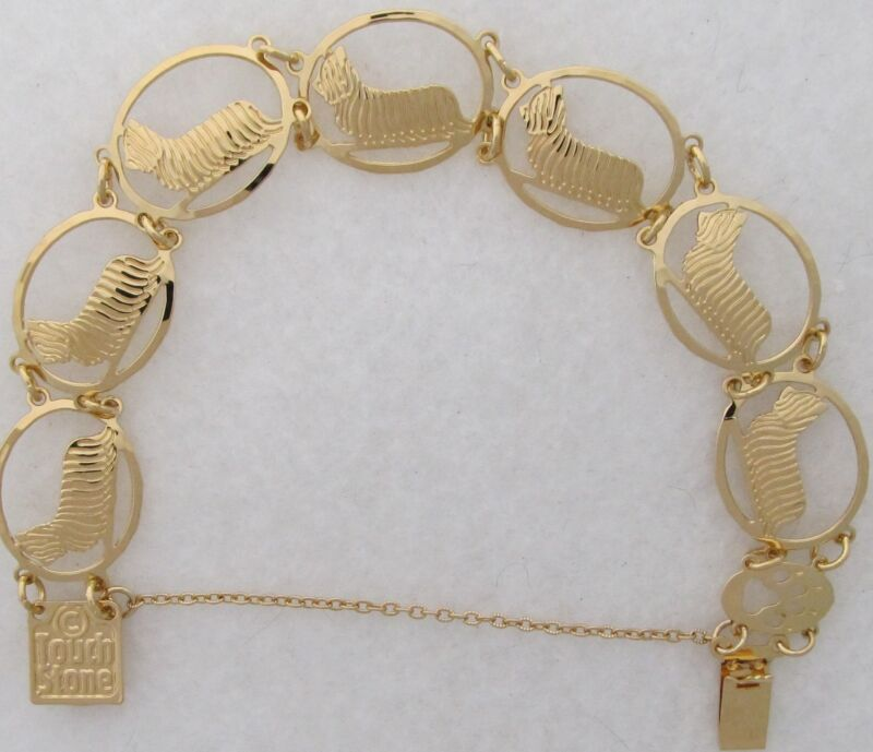 Skye Terrier Jewelry Gold Bracelet by Touchstone