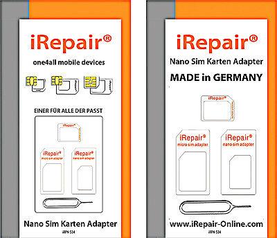 NANO SIM KARTEN ADAPTER SET Made in Germany MICRO SIM STANDARD FÜR O2 SIM KARTE