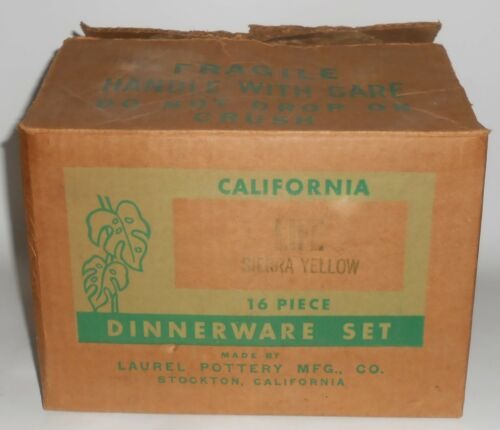 Laurel Pottery California Life 16 Piece Set Sierra Yellow w/Box
