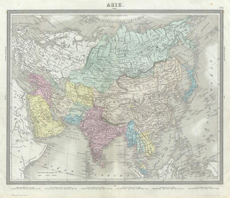1874 Tardieu Map of Asia