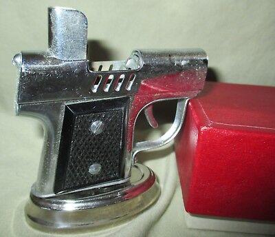 Vtg Occupied Japan Chrome Pistol Gun Cigarette Lighter Continental New York-NIB