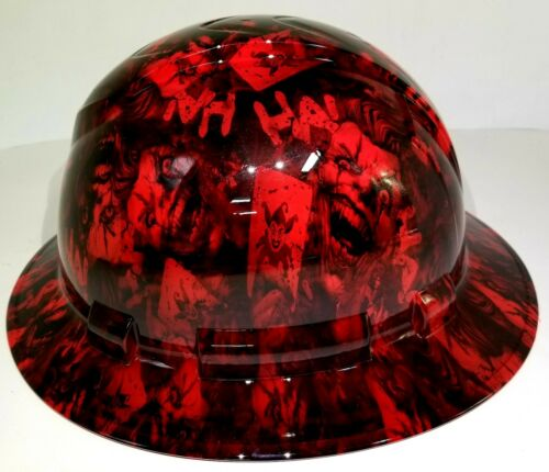 FULL BRIM Hard Hat custom hydro dipped , NEW CANDY RED RADIATION JOKER HA HA 3