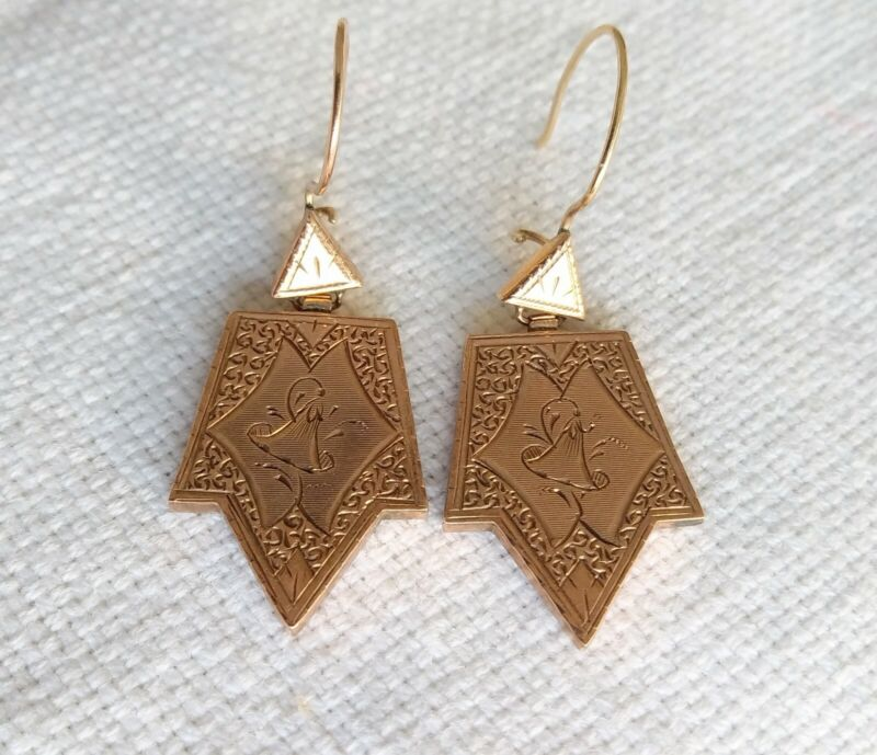 Genuine Antique Victorian Gold Filled Ornate Etched Dangle Pierced Earrings