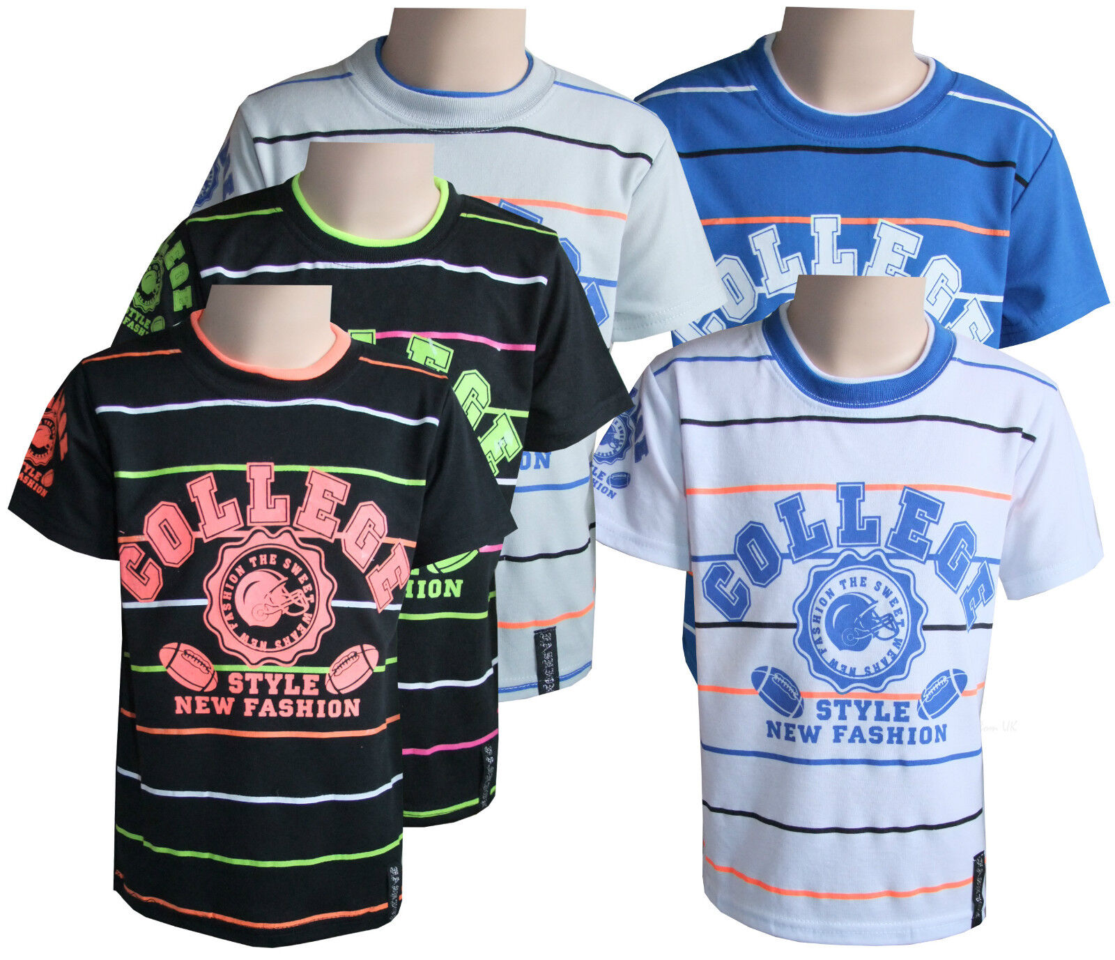 96279ea4 Boys Kids T-Shirts Casual Wear Crew Neck White Short Sleeve Striped Tops Yr  4-14