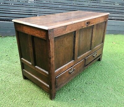 Antique Oak Panelled Mule / Chest / Coffer / Storage Box with Drawers