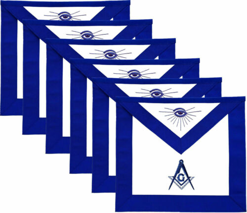MASONIC MASTER MASON APRONS BLUE LODGE EMBROIDERED - PACK OF 6 BEST QUALITY
