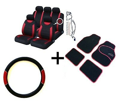 CARNABY RED CAR SPORT SEAT COVERS  MATCHING CARPET MATS  STEERING WHEEL COVER