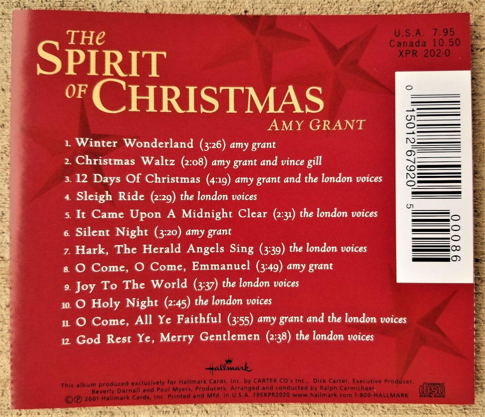 Amy Grant London Voices THE SPIRIT OF CHRISTMAS 2001 CD  - $4.88