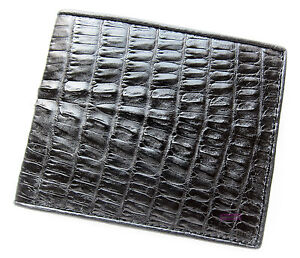 GENUINE CROCODILE ALLIGATOR TAIL BLACK SKIN LEATHER MEN'S CLASSIC WALLET