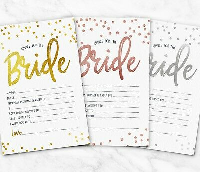 25x Advice for the Bride Cards To Hen Party Games ~ Bridal Shower Wedding (G29)