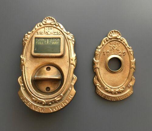 Vintage Cast Bronze New Yorker Hotel Door Privacy Finger Latch Plate & Backplate