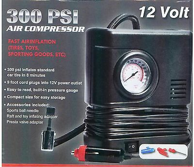 Air Compressor Portable Pump 300 PSI Auto Car SUV Tire 12V volt + 3 adapters NEW